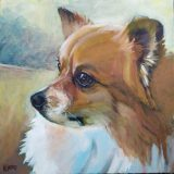 "Butterball. Commission of a Pomeranian. 12x12""."