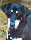 "Charlie. Commission of a granddog. 16x24""."