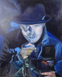 """Gord Downie, painted in 2 hours for a company's social event. 24x30"""""""