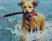 "Maggie. Commission of a Golden Retriever. 16x20""."