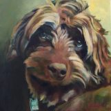 "Nash. Commission of a Labradoodle. 20x20""."