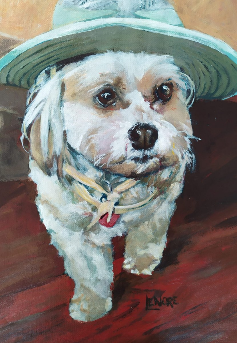 """Tilley. Commission of a cute pup with a Tilley hat. 18x26""""."""